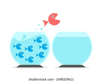 Unique big fish changing fishbowls from crowded to empty one. Solitude, abundance and scarcity mentality, independence and ambition concept.