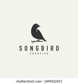 unique bird silhouette logo - vector illustration on a light background
