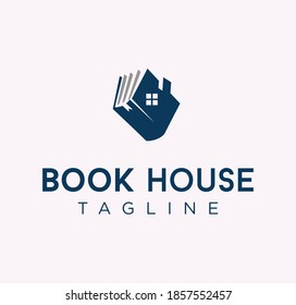 unique Book house realty logo Design Template. Library Logo Book Home School Vector Design Illustration White Background . Book Real Estate Education logo Design Icon