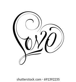 Unique calligraphic vector tattoo love design