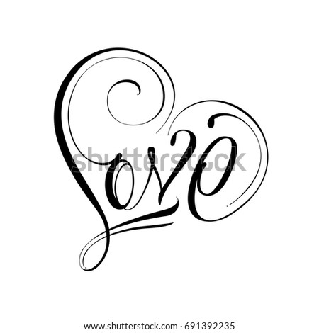 Unique Calligraphic Vector Tattoo Love Design Vector De Stock Libre