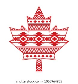 A unique Canadian maple leaf design filled with a simple pattern.