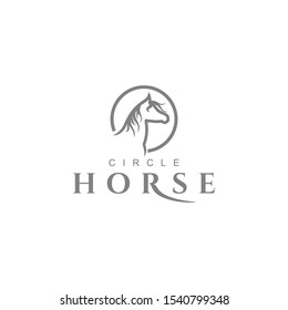 Unique Circle line Horse logo design graphic template vector illustration