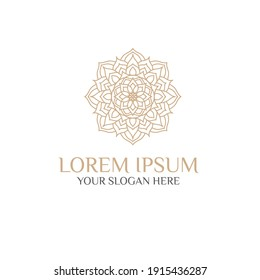 Unique Circular logo illustration. Mandala flat icon for your business. Ayurveda, spa, yoga company identity. Advertising or web startup zen symbol design. Moroccan tile style. Vector isolated sign.