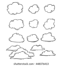 Unique clouds collection using doodle art on white background