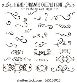 Unique collection of hand drawn swirls and curles. Unique romantic design element for wedding cards, in invitations and save the date cards.