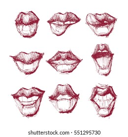 Unique collection or set of lips. Poster, banner, logo, invention, advertisement. Vector art and illustration.