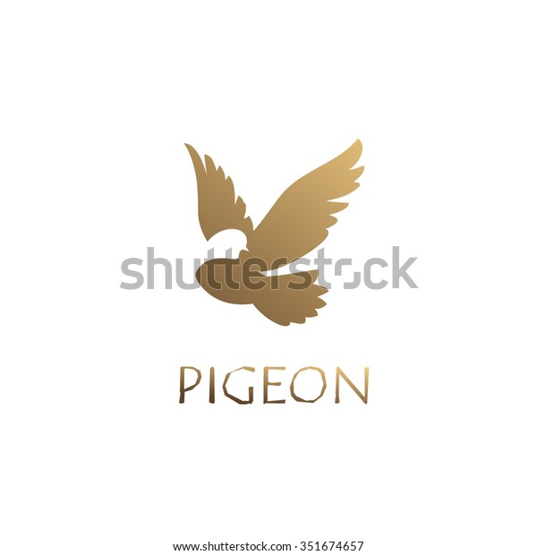 Unique concept. Golden pigeon logo. Pigeon bird abstract vector logo design template.