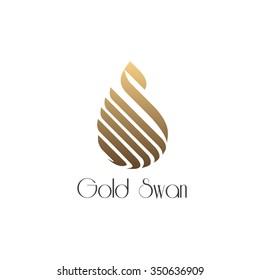 Unique concept. Golden swan logo. Swan bird abstract vector logo design template.