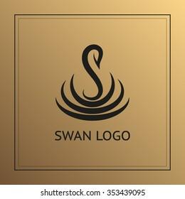 Unique concept. Swan logo on gold background. Swan bird abstract vector logo design template.
