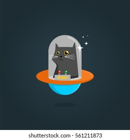 unique cool elegant and cute alien cat planet pet shop logo design for company business or organization in background
