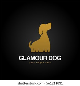 unique cool elegant and cute gold glamour dog pet shop logo design for company business or organization in background