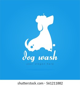unique cool elegant and cute white dog wash pet shop logo design for company business or organization in blue background