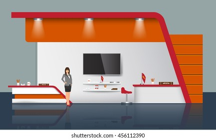 Unique creative exhibition stand display design with table, tv light beam info board logo and some promotion objects. Realistic Trade Booth template mock up. Corporate identity design elements.