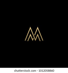 Unique and Creative initial based MM icon logo in black and golden color