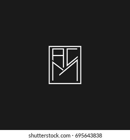 Unique creative modern stylish square shaped fashion brands black and white color AC CA AM MA CM MC A M C initial based letter icon logo.