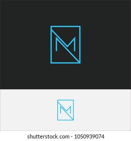 Unique creative simple fashion brands black and white NM MN M initial based letter icon logo