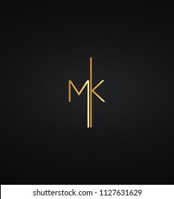 Unique and Custom Minimal Style MK Initial Based logo