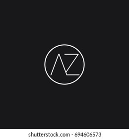 Unique elegant minimal connected circular shaped fashion brand black and white color AZ A Z initial based letter icon logo.