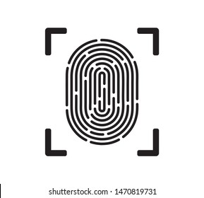 Unique fingerprint simple vector icon isolated on white background. Thumbprint sign as individual data protection or biometric scan symbol