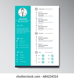 unique flat color curriculum vitae design template with photo or avatar placeholder