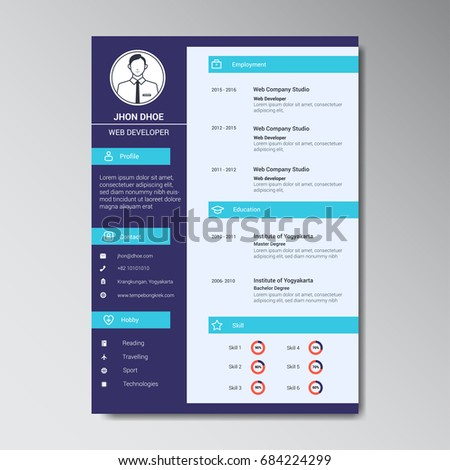 Unique Flat Color Curriculum Vitae Design Stock Vector Royalty Free