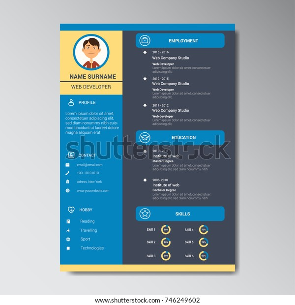 Unique Flat Color Curriculum Vitae Design Template With Photo or Avatar Placeholder