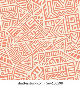 Unique Geometric Vector Seamless Pattern made in ethnic style. Aztec textile print. Perfect for site backgrounds, wrapping paper and fabric design.