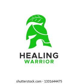 unique Gladiator Spartan Warrior leaf helmet logo design