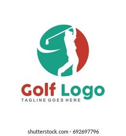 Unique golf logo with minimalist shapes and colors