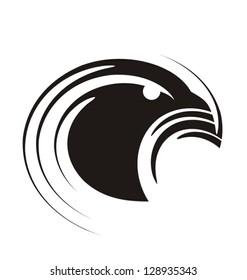 Unique graphic of eagle. Bird symbol template. Modern heraldic design concept.