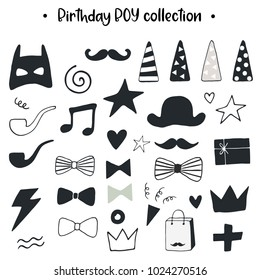 Unique hand drawn birthday boy collection. Set of holiday elements. Monochrome decorations in scandinavian style. Vector illustration.