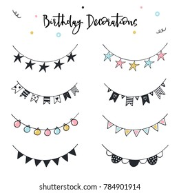 Unique hand drawn birthday garlands set. Holiday color decorations in scandinavian style. Vector illustration.