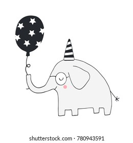 Unique hand drawn nursery birthday poster with elephant in scandinavian style. Vector illustration.