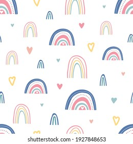 Unique hand drawn rainbow and hearts texture. Rainbow seamless pattern. Cute kids nursery background in pastel colors. Baby shower decoration. Children room decoration. Vector illustration.