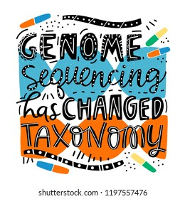 Unique hand lettering - Genome sequencing has changed taxonomy. Genetic engineering and genome research. To illustrate medical articles, sites, advertising. Vector illustration