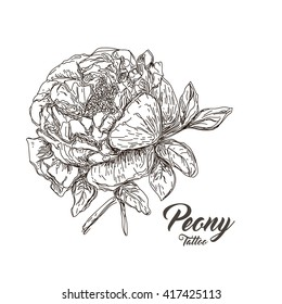 Unique hand-drawing peony tattoo. Vector illustration. Save the date, romantic poster, card, banner, invention, greeting card, tattoo.