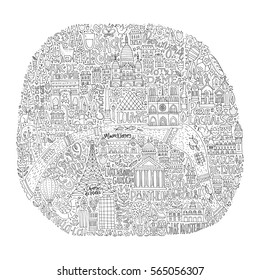 unique handdrawn map of paris with all main tourist attractions and lettering