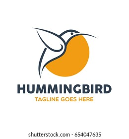 Unique Humming Bird Logo Template