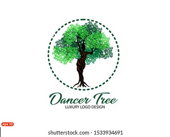 Unique illustration and logo of the Vector Tree with circles and shapes of dancing abstract women