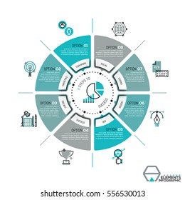 Unique infographic design template, circular diagram or pie chart with 8 sectors. Eight elements of successful development business strategy. Vector illustration for presentation, brochure, website.