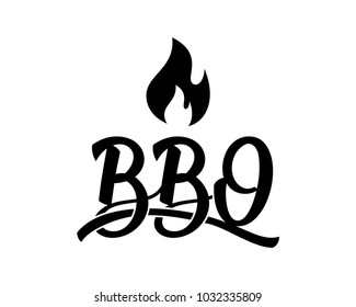 Unique Initial Name Letter BBQ with Fire Sign Symbol Logo Vector