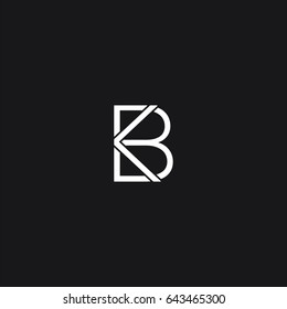 Unique innovative symbolic business and finance related black and white color KB BK K B initial based letter icon logo