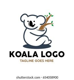 unique koala logo mascot character template stock vector royalty
