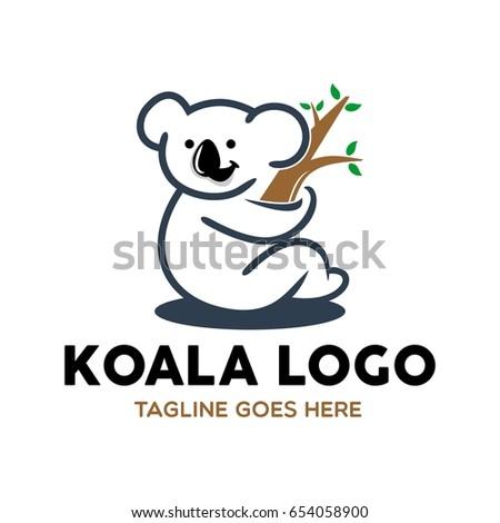 unique koala logo mascot character template のベクター画像素材