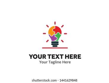 unique lightbulb idea simple logo creative design in flat style with color . light bulb idea logo creative design for identity and business