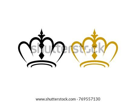 Unique Line Art Crown King Queen Stock Vector Royalty Free