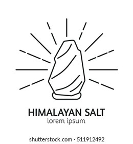 Unique Line Style Vector Logotype Template with Himalayan Salt Crystal. Clean and minimalist symbol perfect for your business. Sauna relaxation concept. Spa Emblem.