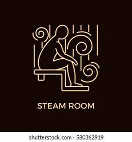 Unique Line Style Vector Logotype Template with man figure sitting in steam room. Editable Stroke Vector Icon. Clean and minimalist symbol perfect for your business. Sauna relaxation concept.