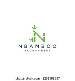 unique logo design bamboo vector template